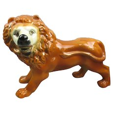 Large Staffordshire Standing Lion Figure Antique Victorian c1880