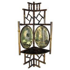 Aesthetic Period Bamboo Mirrored Corner Shelf Antique c1870