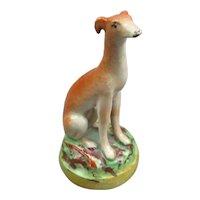 Staffordshire Deer Dog Greyhound Figurine Antique Victorian c1840