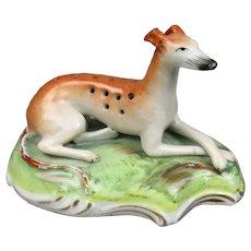 Reclining Staffordshire Deer Dog Greyhound Censer Antique Victorian c1840.