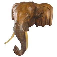 Carved Wooden Elephant Head Vintage c1980