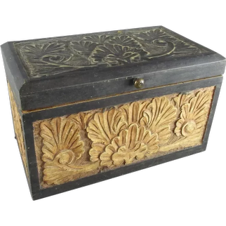 Floral Hand Carved Wooden Storage Caddy Vintage c1970