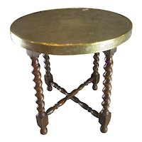 Brass Top Benares Coffee Occasional Table Antique c1920