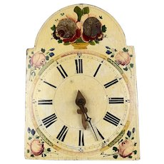 Wood Wall Mounted Clock Hand Painted Vintage c1960