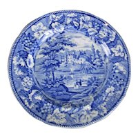 Blue and White Plate Guys Cliff House Antique c1820
