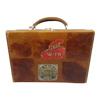 Leather Attache Case with Vienna Travel Labels Vintage 1920