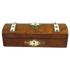 Burl Walnut and Ivorine Glove Box Antique c1880