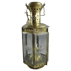 Brass and Glass Oil Lantern Antique Victorian c1880
