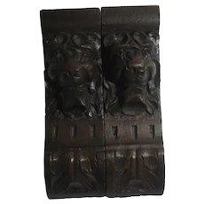 Pair of Carved Oak Lion Head Brackets Antique Victorian c1880