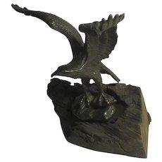 Bronze Eagle on Oak Antique Victorian c1890
