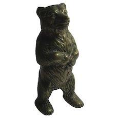 Standing Brass Bear Money Box Antique Victorian c1890