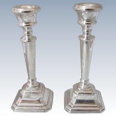 Pair Of Sterling Silver Candlesticks Vintage Hallmarked Birmingham 1996.