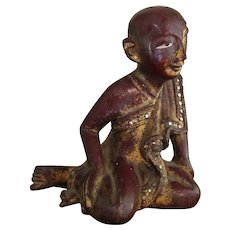 Burmese Buddhist Praying Monk Antique Early 20th Century