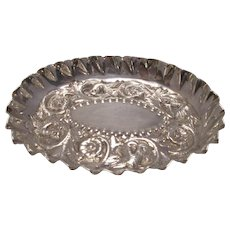 Sterling Silver Pin Or Ring Dish Antique Victorian Hallmarked London 1883.