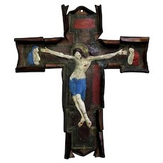 Vintage Leather Embossed & Painted Crucifix c.1950s