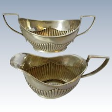 Antique Edwardian Pair of Sterling Silver Gravy Condiment Jugs