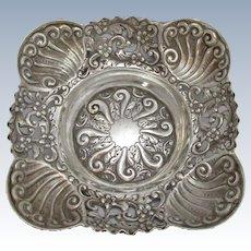 Sterling Silver Bon Bon Dish Antique Victorian Hallmarked London 1895.
