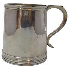 Sterling Silver Tankard Hallmarked Antique Edwardian 1902 English.