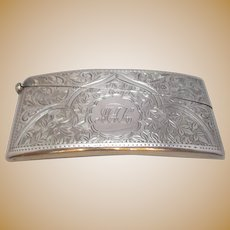 Sterling Silver Ornately Engraved Card Case Antique Edwardian Hallmarked Sheffield 1909.