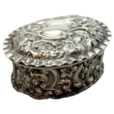 Antique Embossed Sterling Silver Pill Box Birmingham 1902.