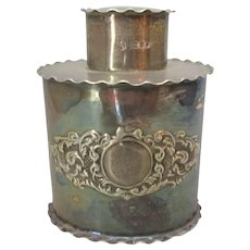 English Sterling Silver Tea Canister Antique c.1899.