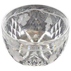 Cut Crystal Engraved Finger Bowl Antique c1900