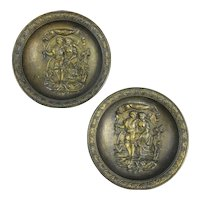 Pair of Small Vintage Decorative Pewter Wall Plates