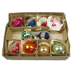 Original Set Of Ten Polish Glass Baubles Vintage c1950