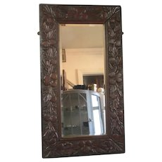 Carved Oak Frame Mirror Vintage Art Deco c1920