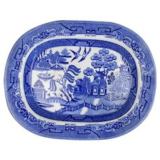 Willow Pattern Blue & White Meat Platter Antique 19th Century