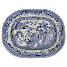 Blue & White Willow Pattern Meat Platter Antique 19th Century