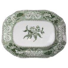 Large Green Transfer Printed Copeland Spode Meat Platter Antique c1870