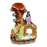 Staffordshire Spill Vase Girl Resting By The River Antique Victorian c1860