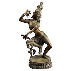 Brass Thai Dancing Goddess Statue Antique Victorian c1890