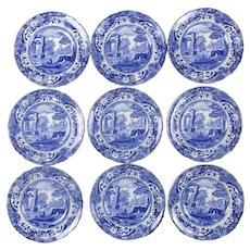Group of 9 Spode Blue & White Saucers Vintage
