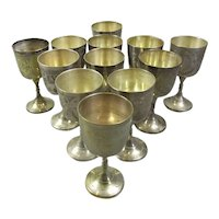 Group of 12 Silver Plated Sherry Glasses Antique c1920