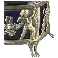Pair French Putti Decorated Sterling Silver Blue Glass Salts Antique Georgian c1830