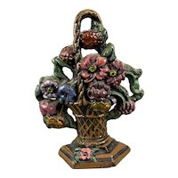 Painted Cast Iron Flower Basket Door Stop Vintage c1960