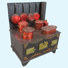 Miniature French Painted Tin Toy Oven Stove by JEP Antique c1910