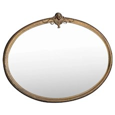 Brass Frame Oval Mirror Antique Art Nouveau c1910