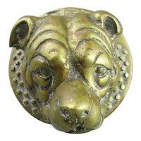 Cast Brass Door Knocker Terrier Antique Victorian c1900