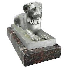 Aluminium Lion Sculpture On Marble Plinth Vintage Art Deco c1920