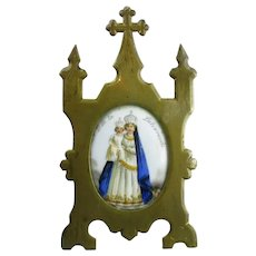 Painted Porcelain Icon Brass Easel Frame Antique Victorian c1880