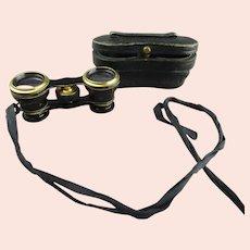 Opera Glasses In Leather Case Antique Edwardian c1910