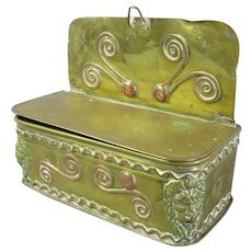 Small Brass & Copper Hanging Candle Box Antique 19th Century