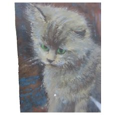 Small Framed Water Colour of a Kitten Antique c1900