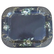 Hand Painted Toleware Tray Antique Victorian 19th Century.