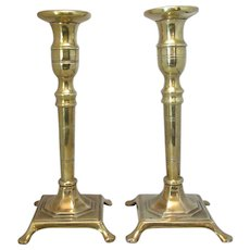 Pair Of Brass Brass Candlesticks Antique Victorian c.1880.
