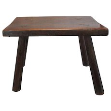 Primitive West Country Stool With Elm Top Antique Georgian c.1830
