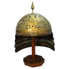 Indo-Persian Brass Helmet Antique Victorian 19th Century.